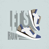 Flat vector illustration with Text - Let's run. Running shoes with shadow. Ready design for sport shop, etc. Stock Photos