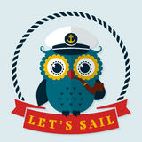 Let's sail! Vector card with captain owl. Stock Photo