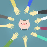 Let's save money. A lot of hand around pink piggy bank on blue background Royalty Free Stock Image