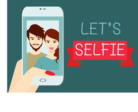 Let's self-ie. A couple taking selfie together.Flat design Royalty Free Stock Photo