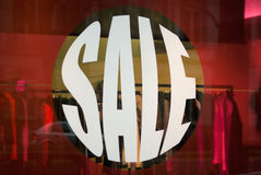 Let's shopping, its sale time!!. Window display with text Sale Royalty Free Stock Images