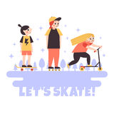 Let's Skate! minimalistic cartoon style vector poster (background). Sports teenage girls background. Royalty Free Stock Image