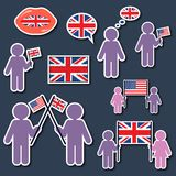 Let`s speak english. Icons set. Let`s speak english. Happy Independence Day. Icons set Stock Photos