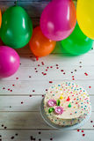 Let's start birthday party with sweet cake Stock Photo