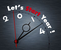 Let's start year 2014. Clock with words Let's start year 2014 Stock Image
