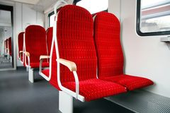 Let's take a seat. Inside of a brandnew wagon Royalty Free Stock Photo
