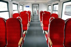 Let's take a seat. Inside of a brandnew wagon Royalty Free Stock Image