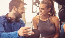 Let`s tell everyone about our workout session stock images