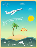 Let's Travel The World. Tropical island illustrator with palm trees, sunshine, airplane, birds, clouds and other elements Royalty Free Stock Images