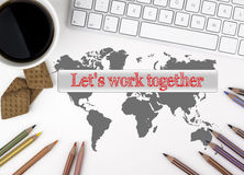 Let's work together. White office desk Stock Photography