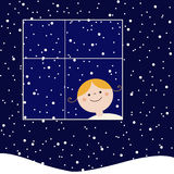Let it snow!. Little girl looking at the snow Royalty Free Stock Photo