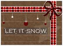 Let it snow. Christmas greeting card with wooden background and christmas decorations Stock Photo