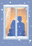 Let It Snow!. Family and window. Vector Illustration Royalty Free Stock Images