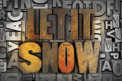 Let it Snow. The words LET IT SNOW written in vintage letterpress type royalty free stock image