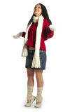 Let it snow. Girl in scarf and mittens waiting for snow stock image