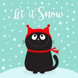 Let it snow. Black Cat kitten head face looking up. Kitty sitting on snowdrift. Red hat, scarf. Cute funny cartoon character. Merr Royalty Free Stock Images