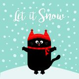 Let it snow. Black Cat kitten. Red hat, scarf. Cute funny cartoon character on snowdrift. Merry Christmas. Flat design. Blue winte. R background with snow Royalty Free Stock Photo