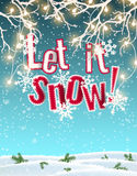 Let it snow, blue text on background created by abstract sky and clouds, with 3d effect, illustration. Let it snow, blue text on background created by abstract royalty free illustration
