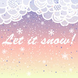 Let it snow. Bright vector card made of snowflakes. With bokeh effect. Merry Christmas Greeting Card with snowflake. Winter holiday design. Vector illustration Stock Photography