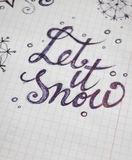 Let it Snow calligraphic background. For your design royalty free stock images