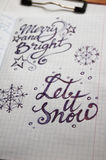 Let it Snow calligraphic background. For your design stock image