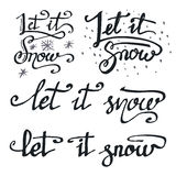 Let it snow calligraphic quotations set Stock Photos