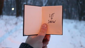 Let it snow! Christmas calligraphy. Handwritten. Hand holding a book with the inscription, on the background of the. Forest with snow-covered trees stock video footage