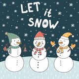 Let It Snow christmas card with cute snowmen and falling snow. Vector illustration Stock Photography