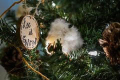 Let it snow christmas ornament on the tree stock images