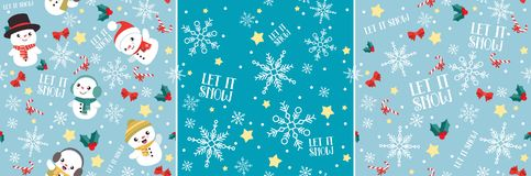 Let It Snow Christmas Seamless Pattern Set. This is set of three cute Christmas seamless patterns. All elements can be used separately, or as three individual royalty free illustration