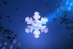 Let it snow. 3D illustration of big snowflake on blue background with small snowflakes in corners Stock Photo