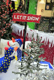 Let it Snow. Decorations and artificial snow in the Chesterfield Market Hall, Derbyshire, England, UK stock image