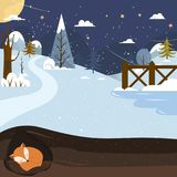 Let it snow. Fox sleeping in a hole. Holiday background. Stock Image