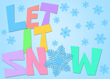 Let It Snow Freehand Drawn Text Snowflakes Color Stock Image