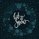 Let It Snow hand lettering greeting card. Modern calligraphy. Christmas Wreath. Vector Illustration royalty free illustration