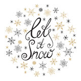Let it snow. Handwritten lettering. Royalty Free Stock Photos