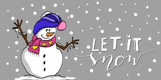 Let it snow. Happy Christmas snowman with handwritten Let it snow Stock Images