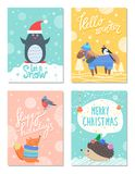 Let it Snow Hello Winter 60s Colorful Postcard. With cute animals in warm clothes. Vector illustration contains snowy banners with congratulations Stock Illustration