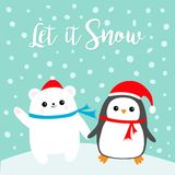 Let it snow. Kawaii Penguin bird Polar white bear cub. Red Santa Claus hat, scarf. Cute cartoon baby character. Merry Christmas. F Royalty Free Stock Photo