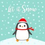 Let it snow. Kawaii Penguin bird on snowdrift. Red Santa Claus hat, scarf.. Let it snow. Kawaii Penguin bird on snowdrift. Red Santa Claus hat, scarf. Cute Royalty Free Stock Image