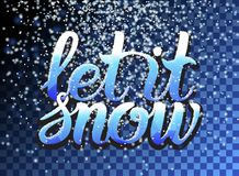 Let it snow lettering and falling particles on transparent background. Christmas Snow effect for greeting card. Sparkling texture. Star dust sparks. Snowflakes stock illustration