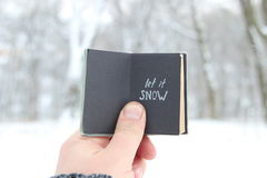 Let it snow lettering and Falling snow. Vintage book with inscription. Vintage book with inscription on the background of a winter landscape royalty free stock photo