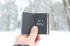 Let it snow lettering. Vintage book with inscription. Vintage book with inscription on the background of a winter landscape royalty free stock photos