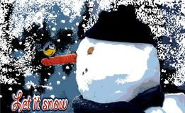 Let it snow. Life cute winter print. `Let it snow ...` Meeting titmouse and snowman. There is friendship at first sight,and these two are proof of that Stock Photography