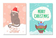 Let it Snow Merry Christmas Colorful 60s Postcard. With animals dressed in warm knitted clothes. Vector illustration with owl and cat sitting on snow Vector Illustration