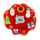 Let it Snow Papercut. Vector Illustration. Merry Christmas Stock Photos