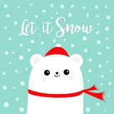 Let it snow. Polar white bear cub wearing red Santa Claus hat scarf. Head face. Cute cartoon smiling baby character. Arctic animal Royalty Free Stock Photography