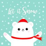 Let it snow. Polar white bear cub wearing red Santa Claus hat scarf. Head face, paw print. Cute cartoon smiling baby character. Ar Royalty Free Stock Photography