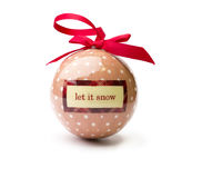 Let it snow, polka dot christmas bauble isolated on a pure white. Back stock photos