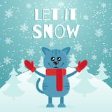 Let it snow the postcard or banner. Cute blue cat dressed in red scarf and mittens. Mountain and fir forest on the. Background. Merry Christmas. Flat design Royalty Free Stock Image